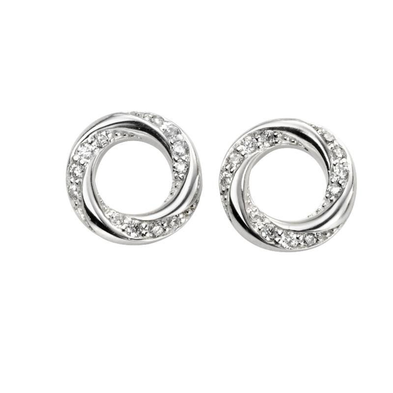 silver open twisted circle stud with pave cz
