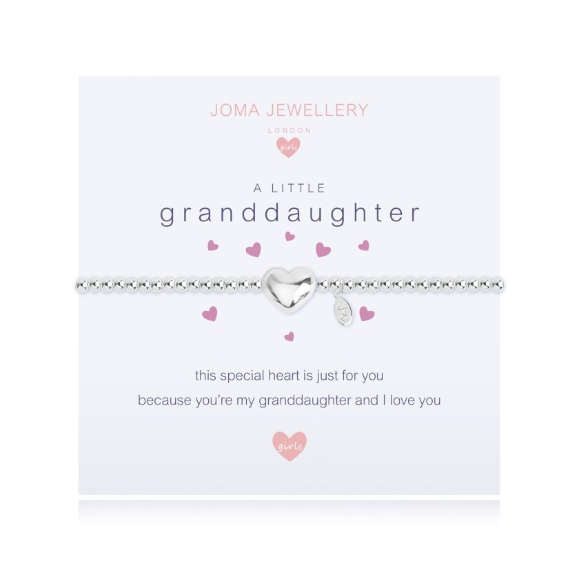 "Silver-plated beaded bracelet for children with a heart charm on a meaning card saying, ""A Little Granddaughter"""