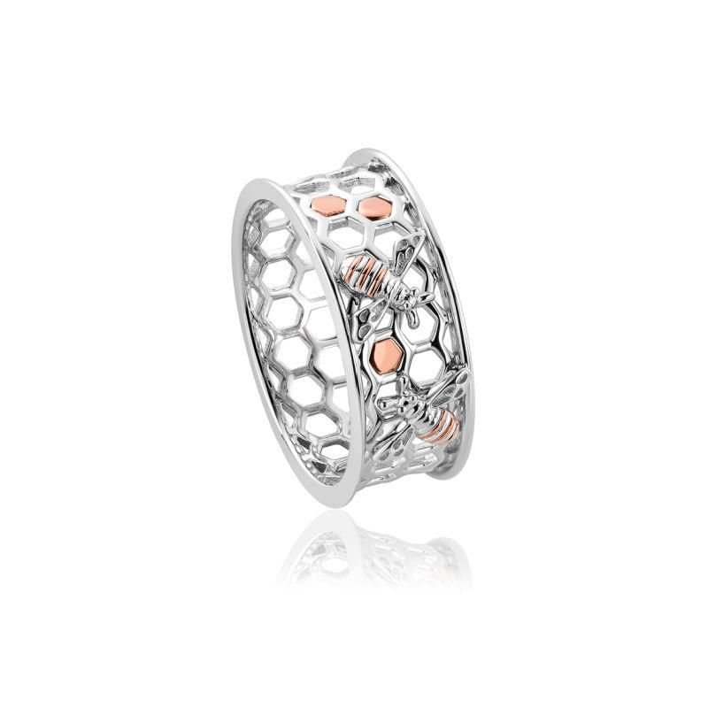 Clogau Silver Honey Bee Honeycomb Ring 3SHNBWR Jewellery CLOGAU GOLD