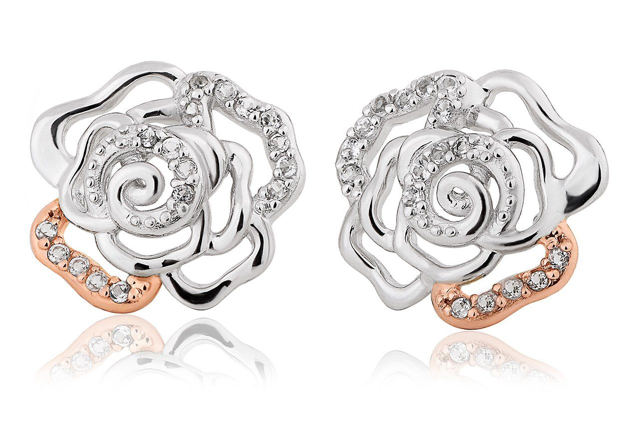 Clogau Royal Roses White Topaz Stud Earrings 3SRORP3 Jewellery CLOGAU GOLD