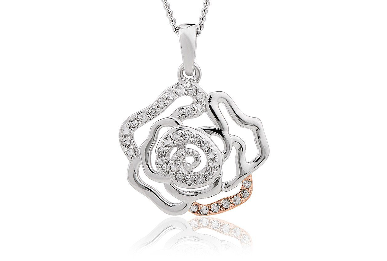 Silver and rare Welsh gold pendant in an openwork design of a rose.