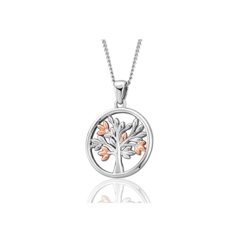 Silver and Welsh Gold Tree of Life Pendant in circle