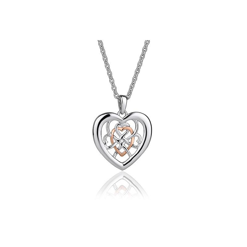 Silver and Welsh Gold heart pendant with openwork weave design in the middle