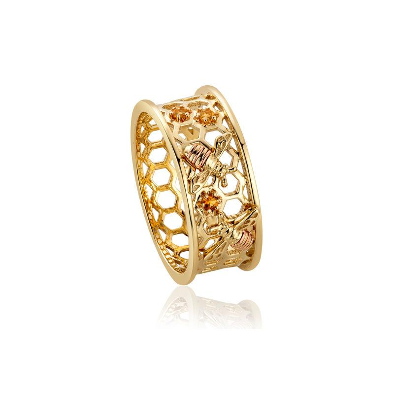 9ct Gold Honey Bee Honeycomb Ring with Citrine