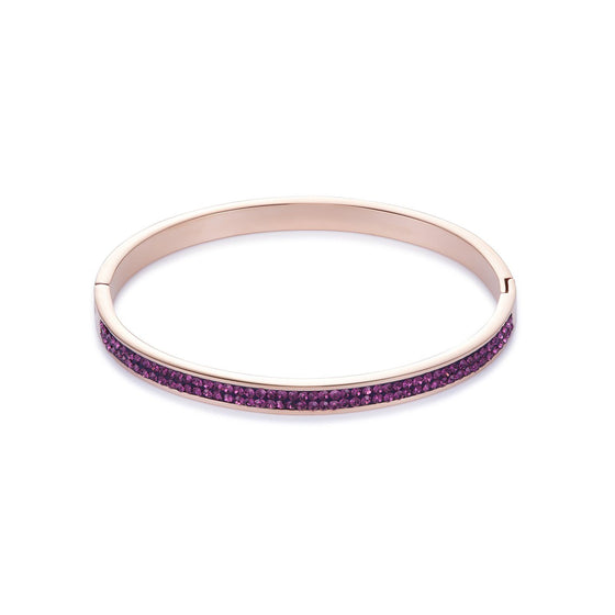 Coeur de Lion Crystal Bangle in Amethyst with Rose Gold 0214/33-0824