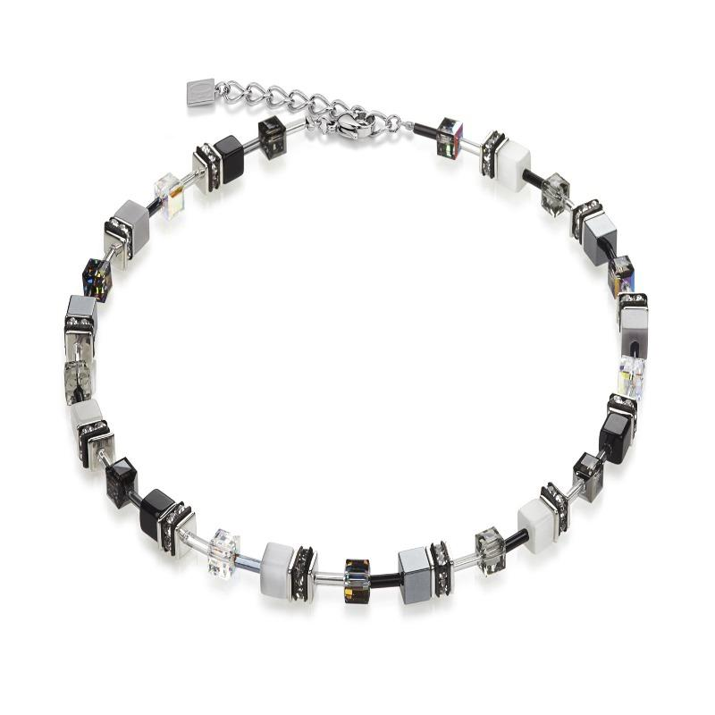 Coeur de Lion Black and White Geo Cube Necklace 4104/10-1412