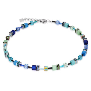 Coeur de Lion Blue-Green Geo Cube Necklace 2838/10-0705