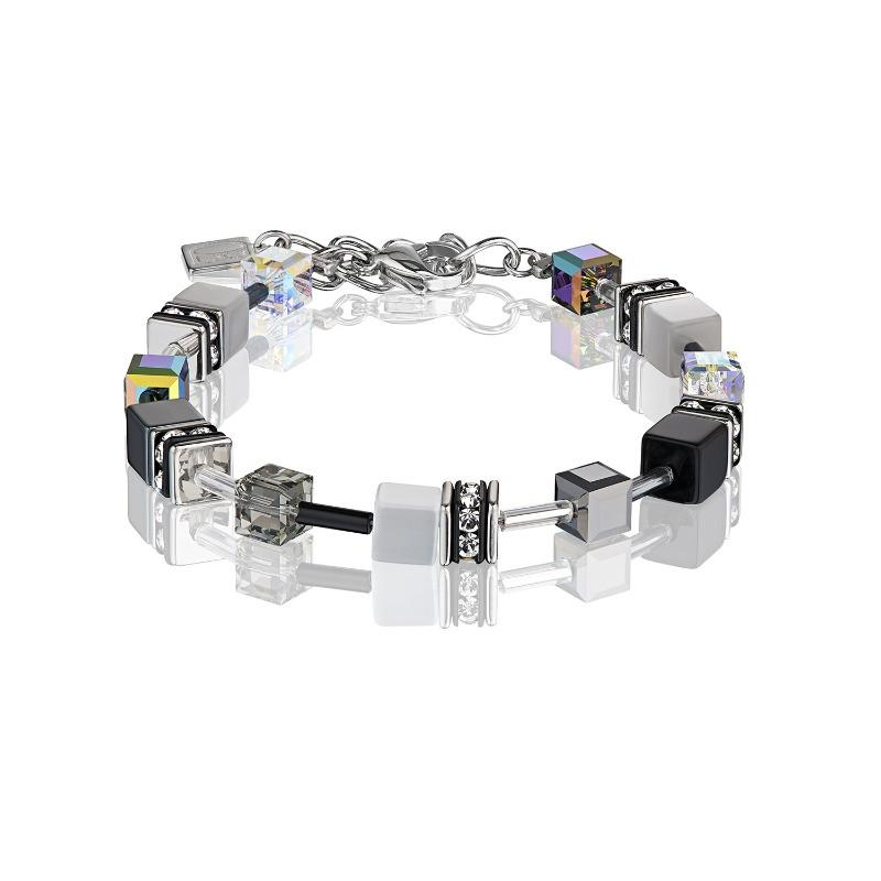 Coeur de Lion Geo Cube Bracelet in Black and Grey 4014/30-1412