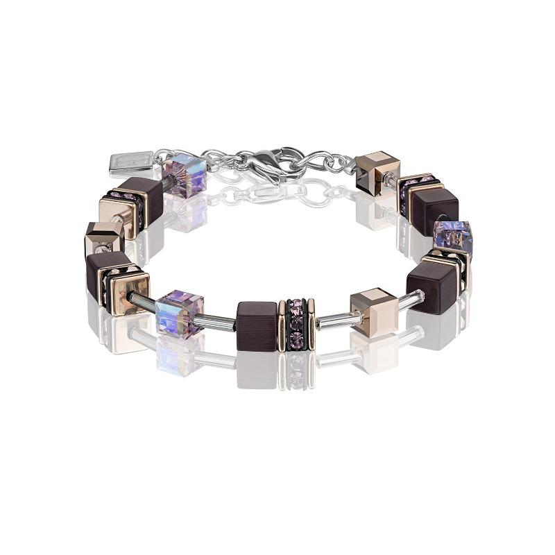 Coeur de Lion Geo Cube Bracelet in Purple & Rose Gold 4016/30-0824