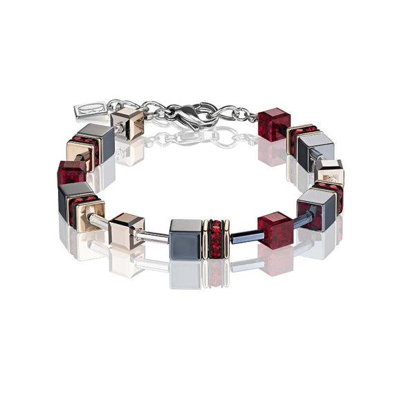 Coeur de Lion Geo Cube Bracelet in Red and Hematite 4015/30-0300