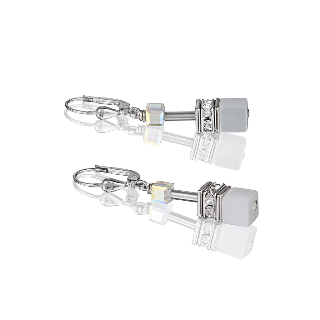 Coeur de Lion Geo Cube Earrings in White 4322/20-1400
