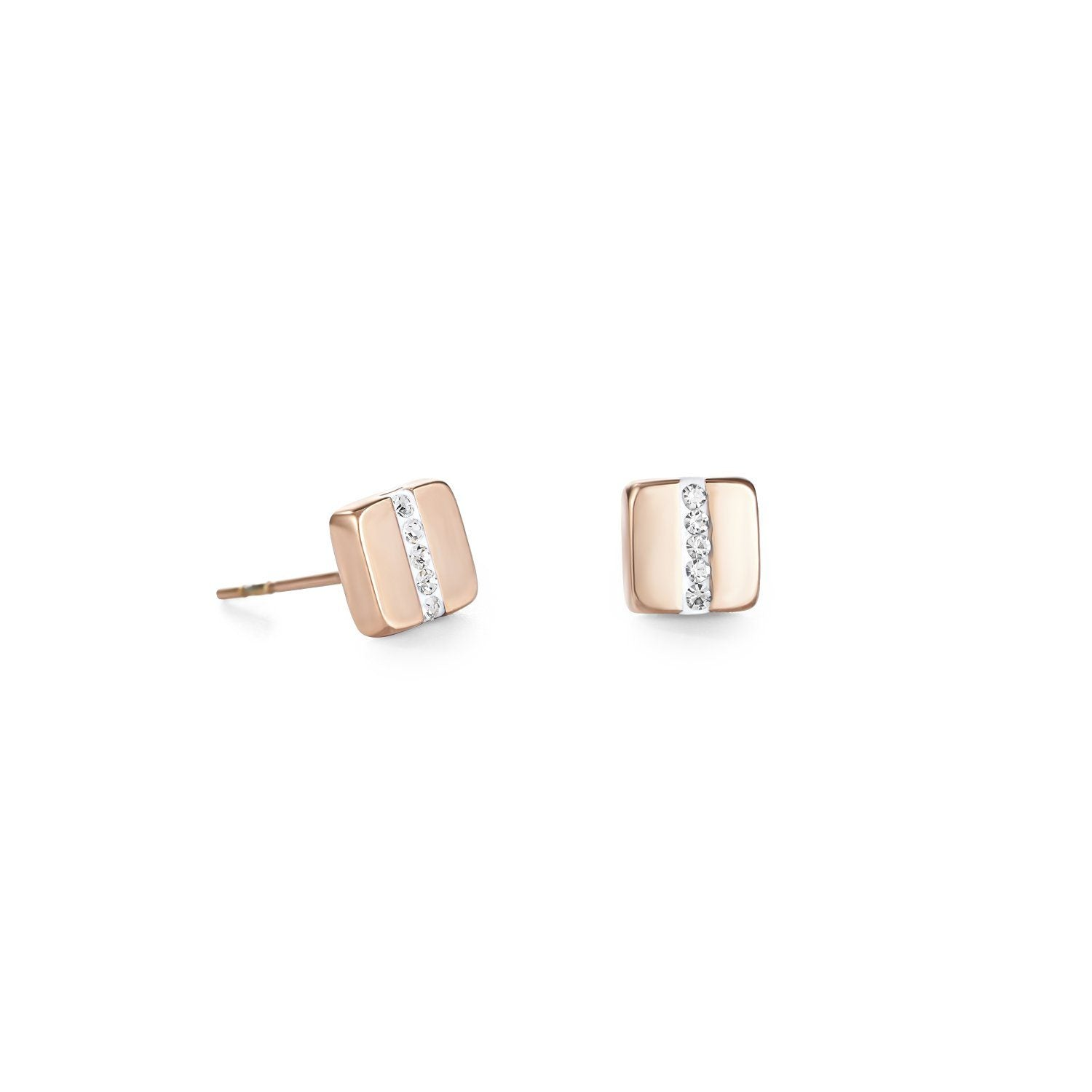 Pavé Crystal Gold Square Stud Earrings 0225/21-1800 Jewellery Coeur de Lion