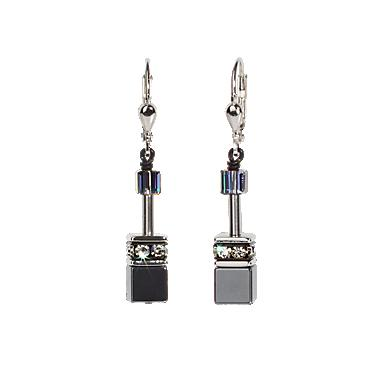Coeur de Lion White & Grey Hematite earrings 4014/20-1412 Jewellery Coeur de Lion