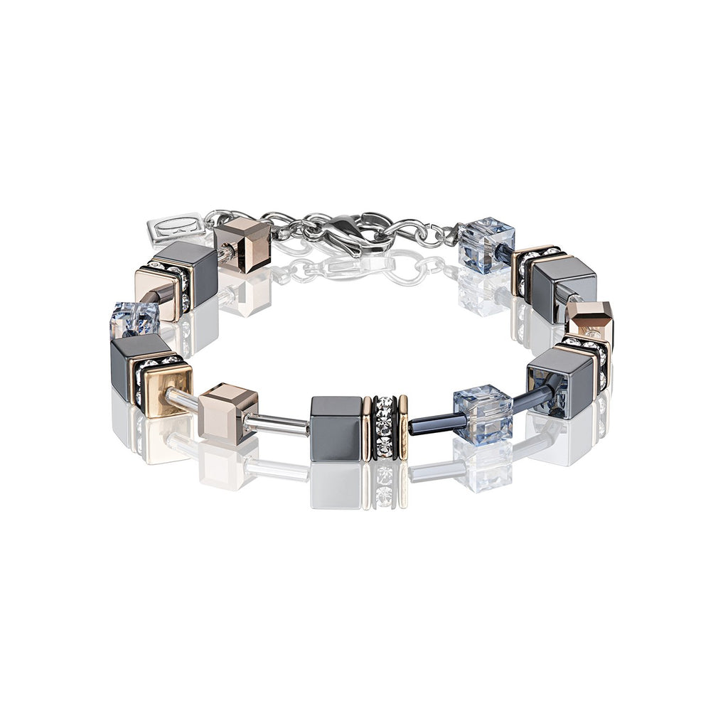 Coeur de Lion Geo Cube Bracelet in Hematite and Rose Gold 4015/30-0730