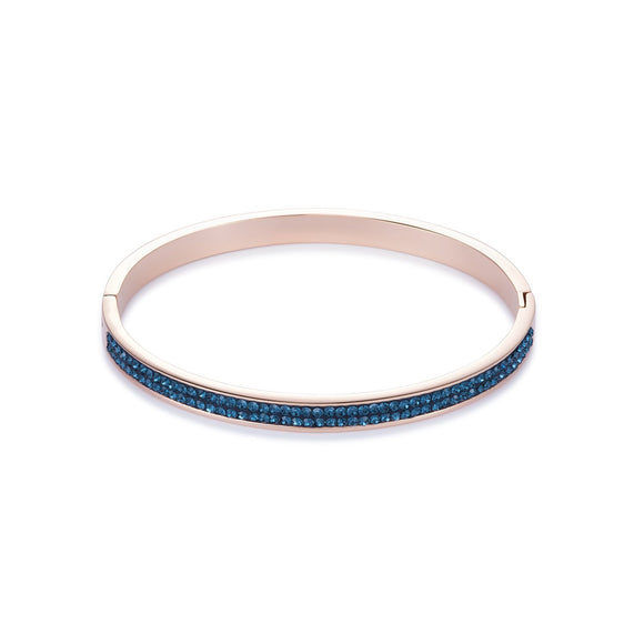 Coeur de Lion Crystal Bangle in Montana with Rose Gold 0214/33-0735