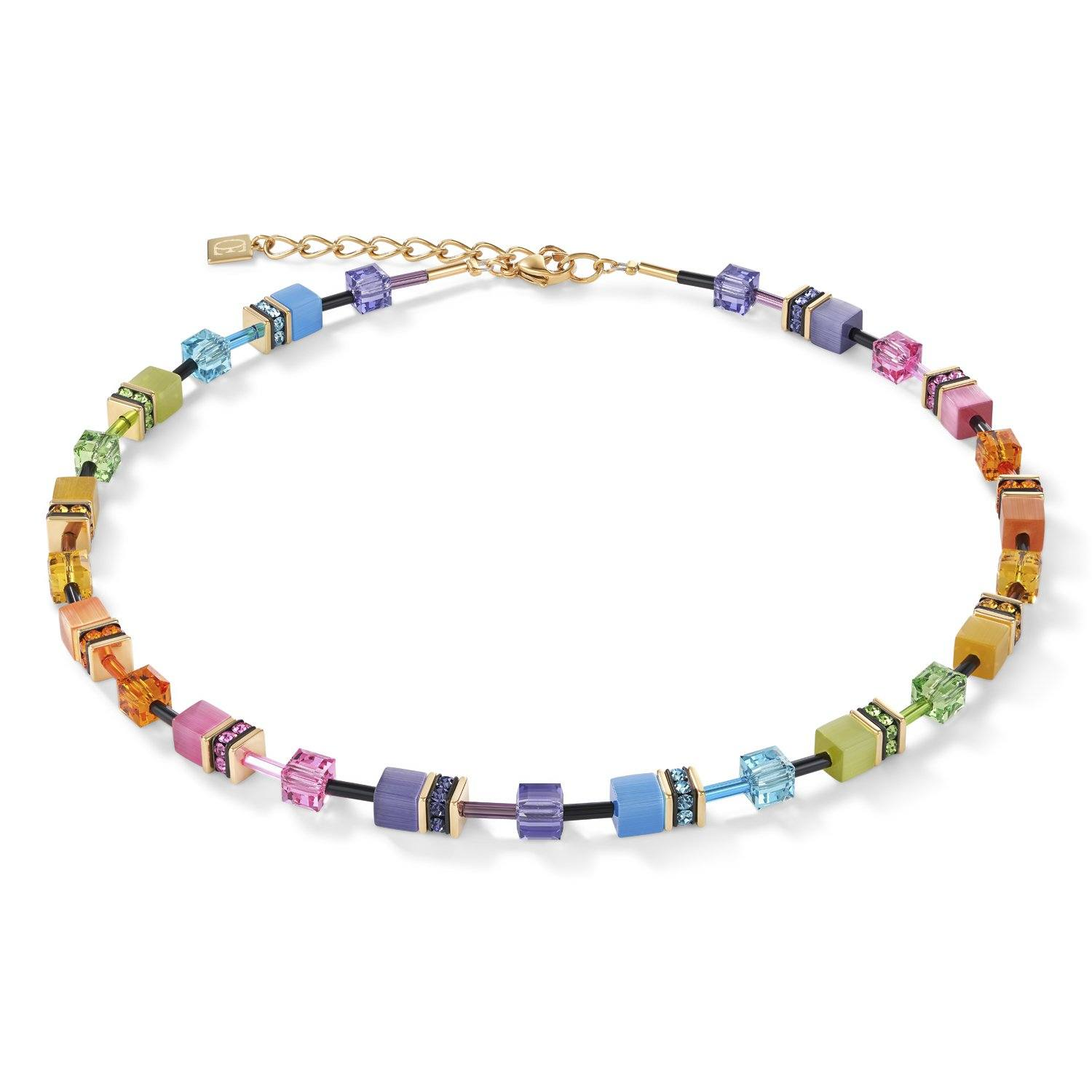 Coeur de Lion Geocube Necklace in Multicolour Rainbow-Gold with Swarovski Crystals 2838/10-1573 Jewellery Coeur de Lion