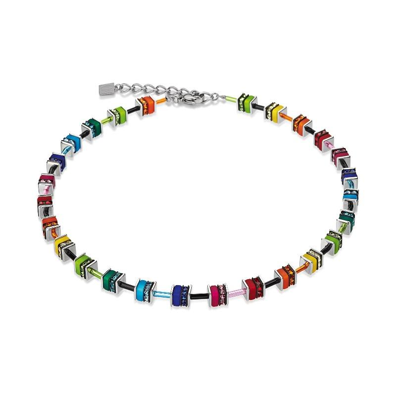Coeur de Lion Multicolour Geo Cube Necklace 4409/10-1500