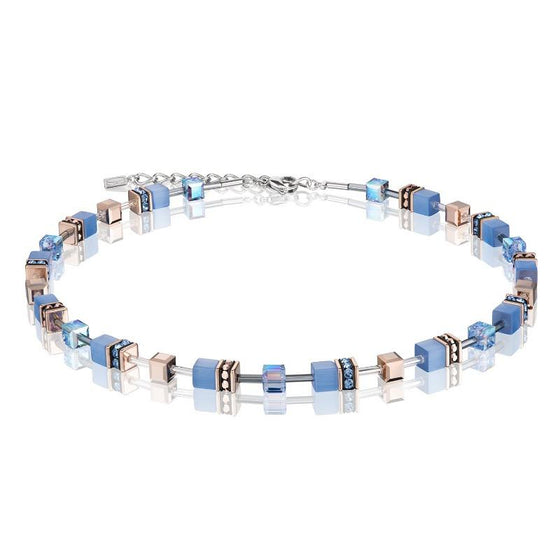 Coeur de Lion Geo Cube Necklace in Blue and Rose Gold 4015/10-0720