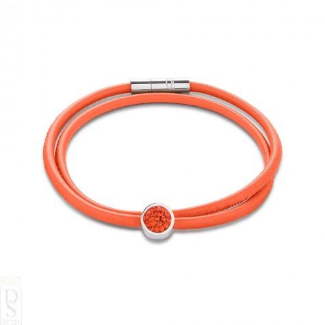 Coeur de Lion Nappa Leather Bracelet in Orange 0118/31-0221