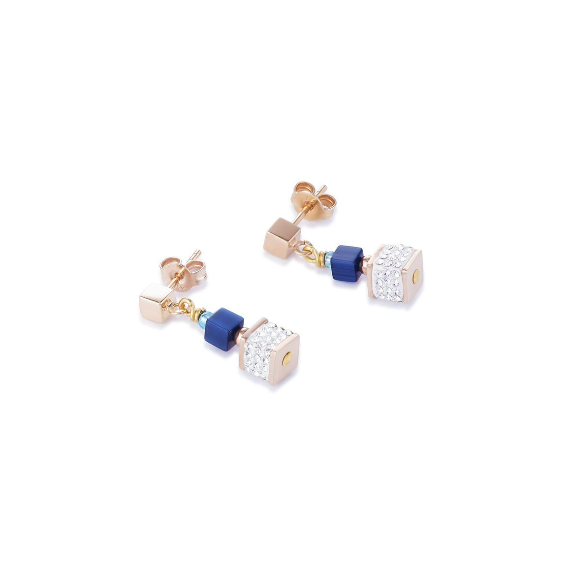 Coeur de Lion Blue & Pave Crystal Cube Drop Earrings with rose gold fittings