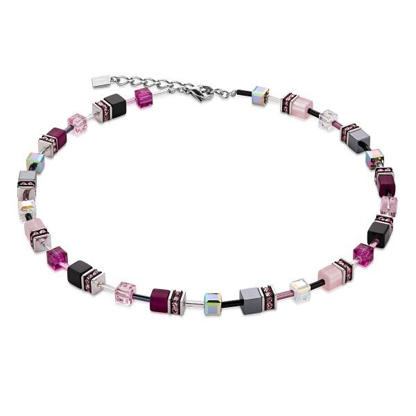 Coeur de Lion Pink Grey Geo Cube Necklace 4014/10-0412