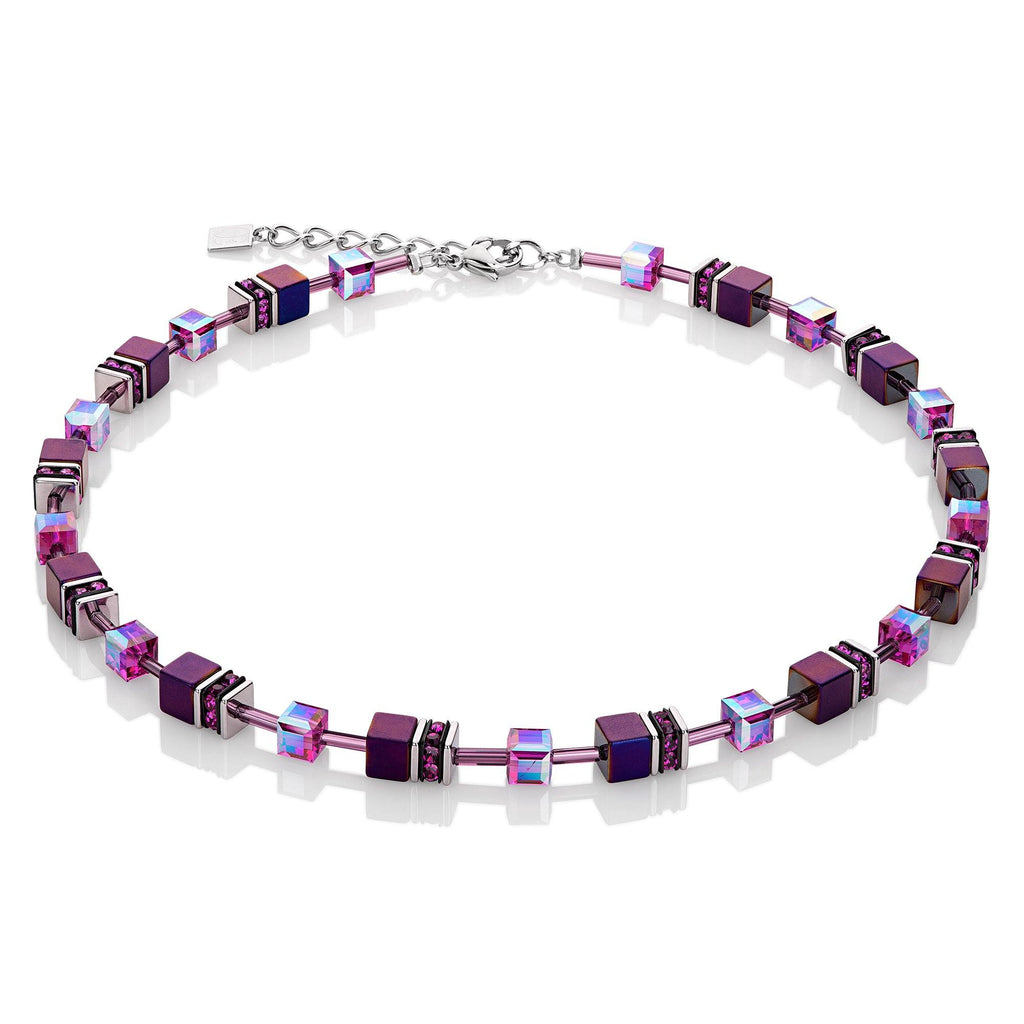 Coeur de Lion Geo Cube Purple Necklace 4322/10-0800