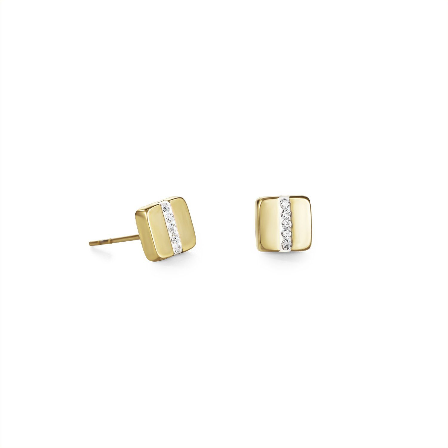 Pavé Crystal Gold Square Stud Earrings 0325/21-1800 Jewellery Coeur de Lion