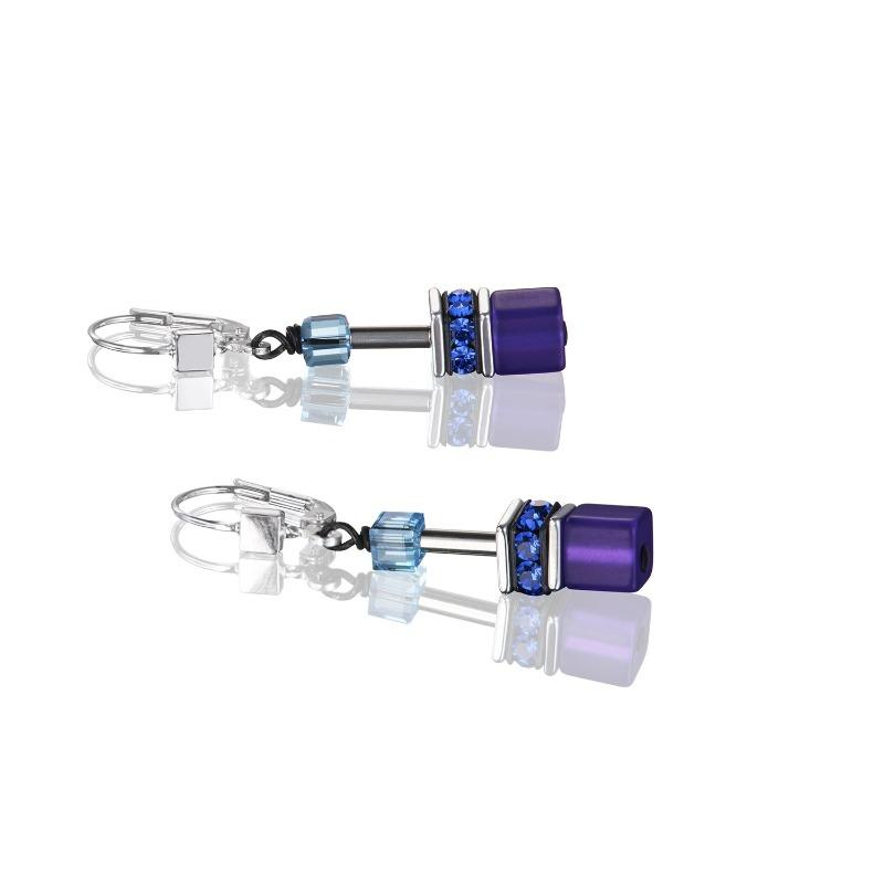 Coeur de Lion Blue-Purple GeoCube Earrings 2838/20-0708
