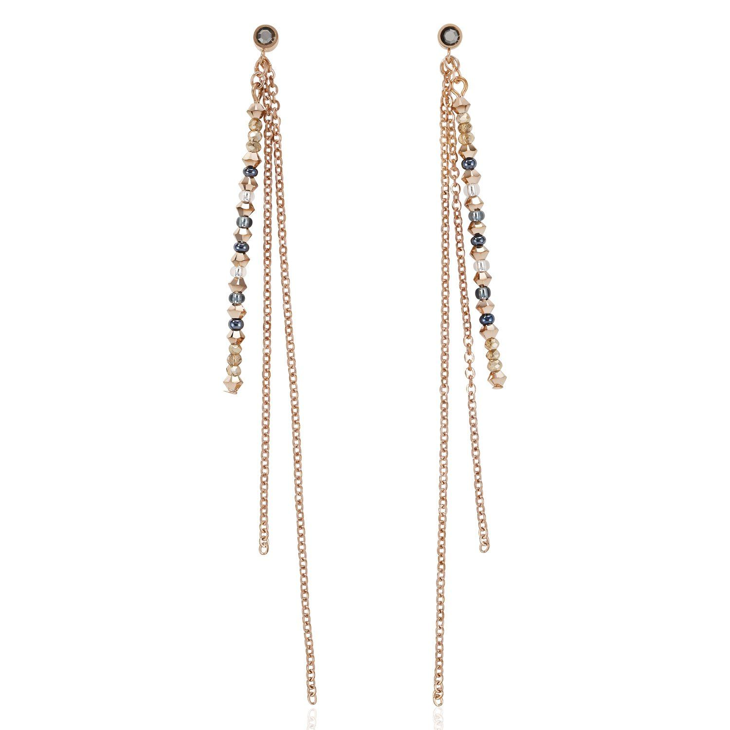 Coeur de Lion Fine Waterfall Earrings Rose Gold & Grey 5040/21-1200 Jewellery Coeur de Lion