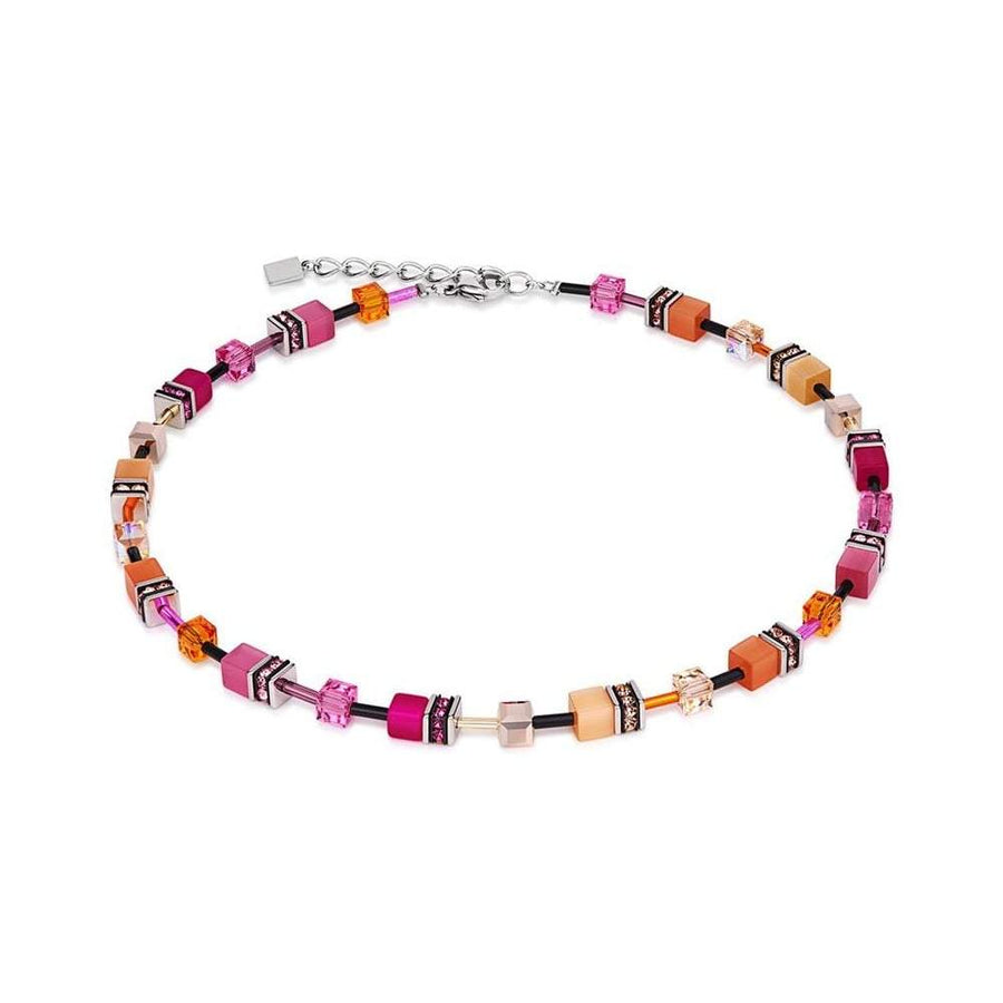 Coeur de Lion Necklace Orange and Pink Cubes 2838/10-0204