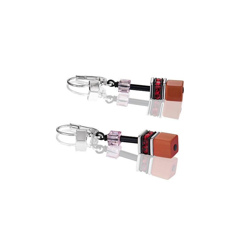 Coeur de Lion Geo Cube Red Rose Beige Earrings 2838/20-0326 Jewellery Coeur de Lion