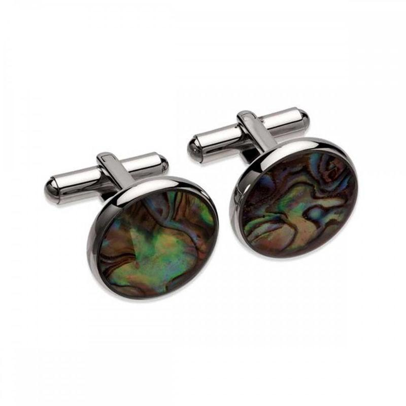 Round black mother of pearl cufflinks