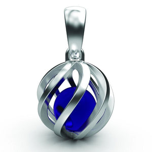 Sphere of Life December Birthstone Pendant with real gemstone ball inside a silver twisted pendant