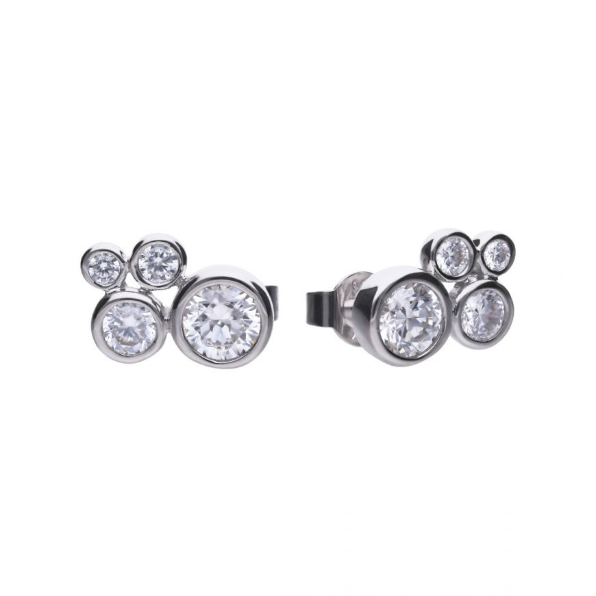 "Diamonfire ""bubble"" stud earrings with each earring featuring 4 cubic zirconia's of a different size"