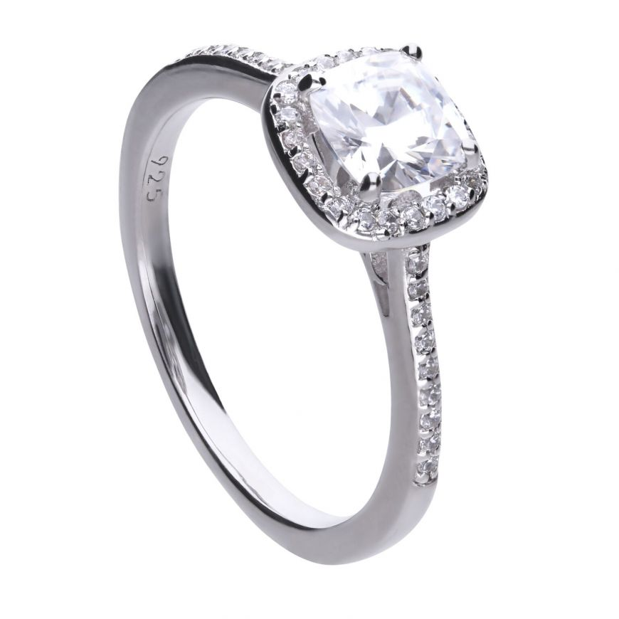 Diamonfire Cushion Cut Pave Surround Cubic Zirconia Ring