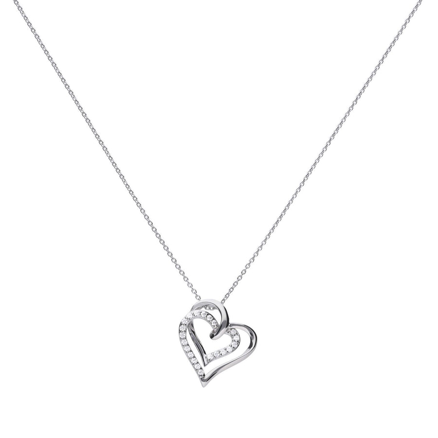 Silver pendant with two interlocking hearts, one of which has been set with sparkling cubic zirconias.