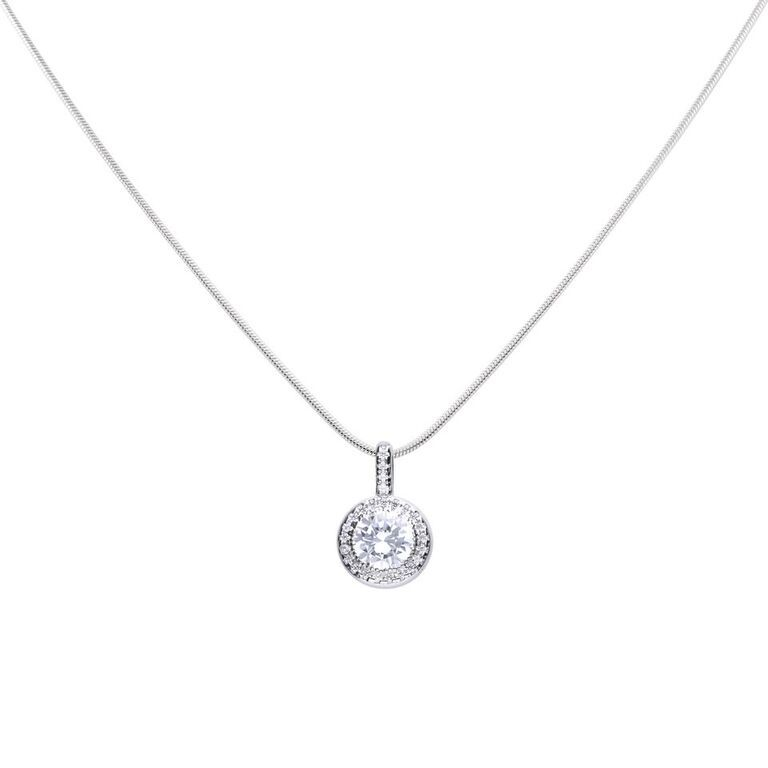 Diamonfire Round halo pendant surrounded by a circle of pave-set cubic zirconia stones