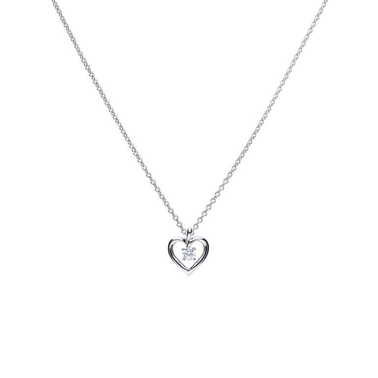 Silver pendant and chain with open heart which has a sparking cz set in the centre