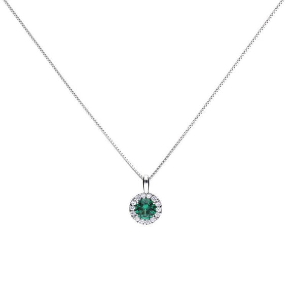 Diamonfire Round Pendant with Green Cubic Zirconia
