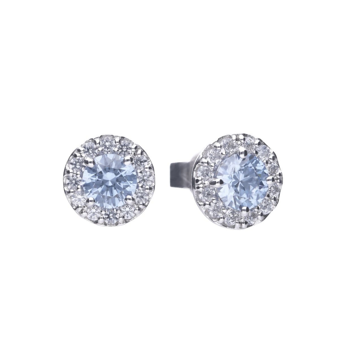 Diamonfire Sky Blue Round Pave Set Earrings