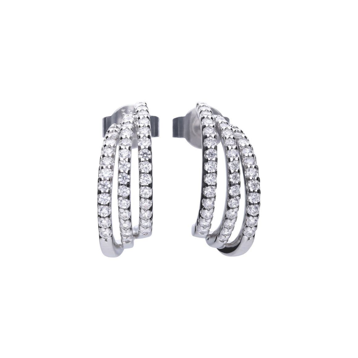 Diamonfire Triple Hoop Pave CZ Earrings