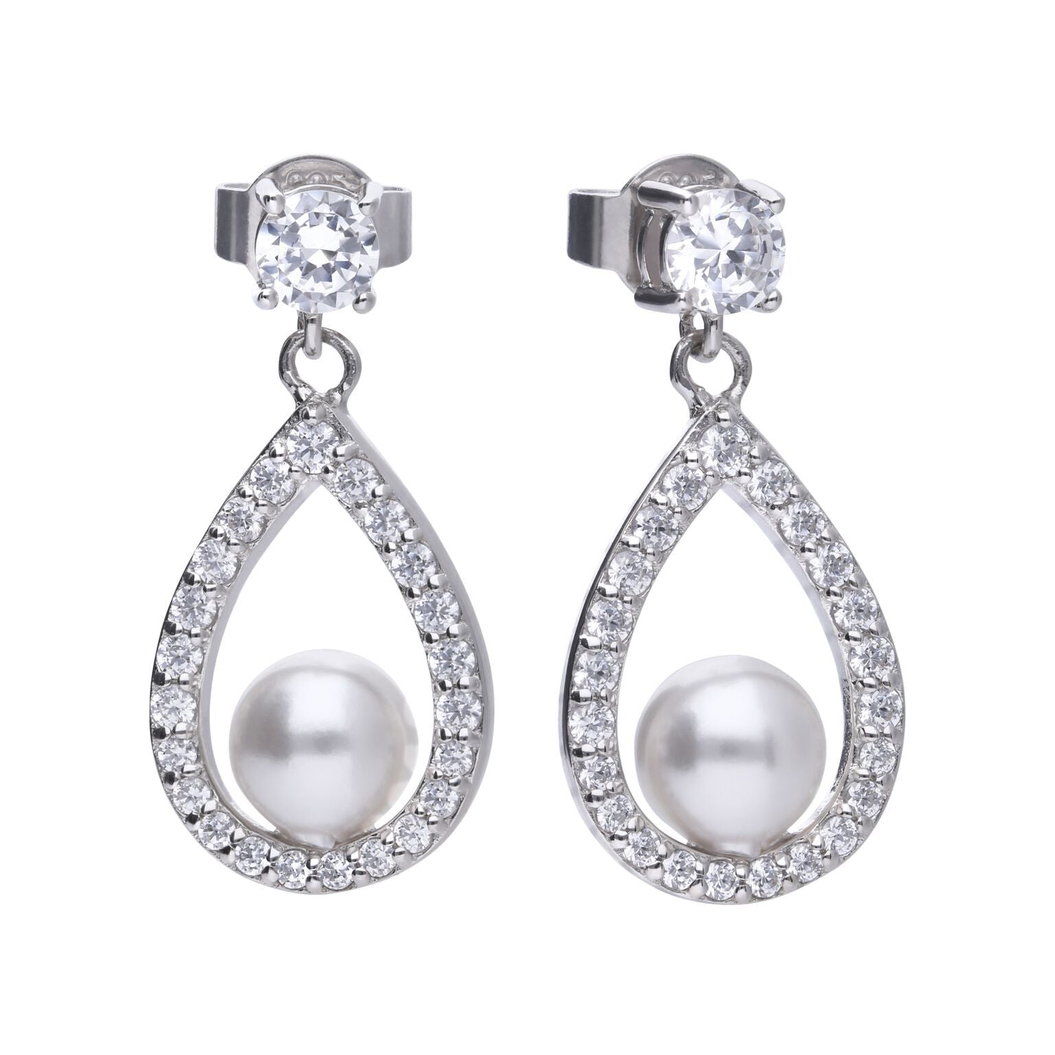 Drop earrings with open teardrop set with cubic zirconia's with a pearl in the base of the teardrop