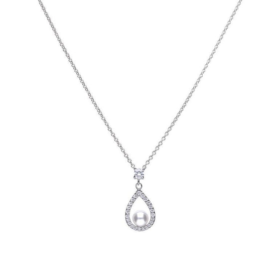 Diamonfire Teardrop Shell Pearl Pendant with Cubic Zirconia