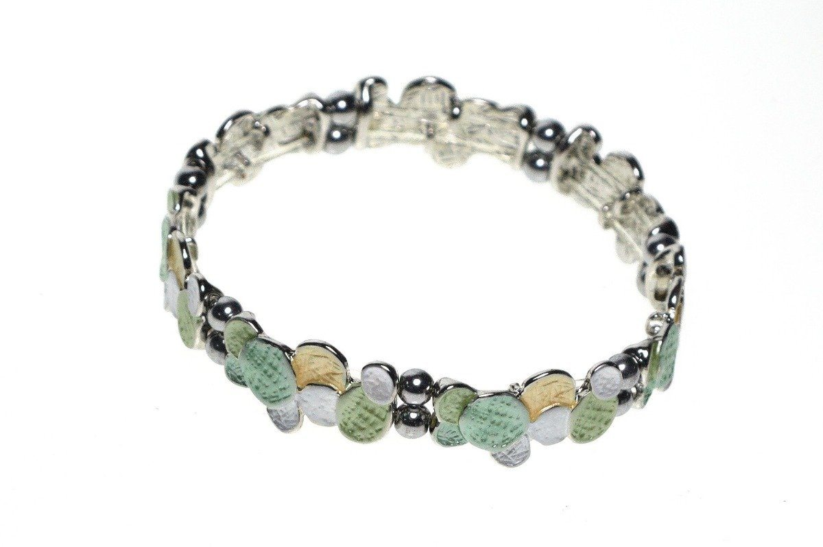 Elasticated Magnetic Hematite Bracelet in Soft Green, Yellow and White Jewellery Coppercraft