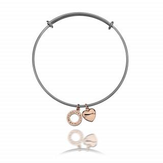 Emozioni Silver Plated and Rose Gold Bangle