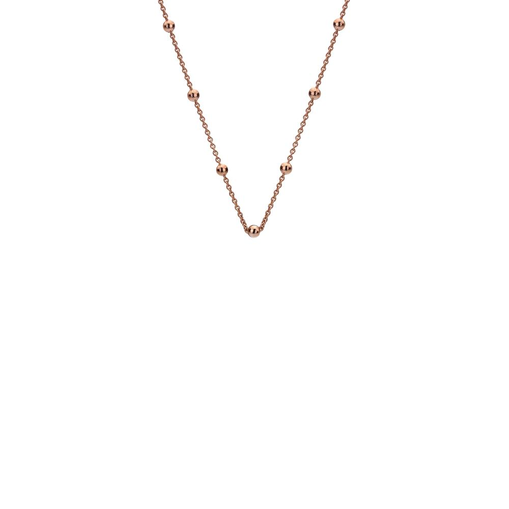 A rose gold plated intermittent bead necklace chain