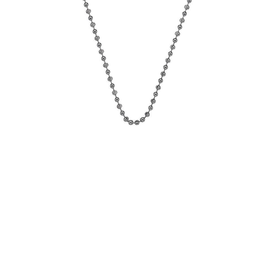 A silver bead chain necklace