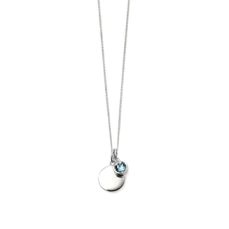 Engravable Disc Pendant with March Swarovski Charm Jewellery Gecko