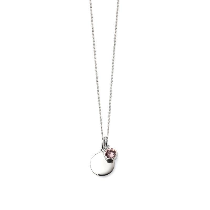 Engravable Disc Pendant with June Swarovski Charm Jewellery Gecko