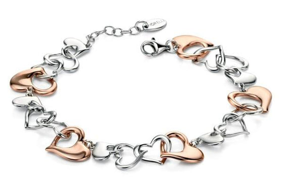 Fiorelli Rose Gold and Silver Hearts Bracelet